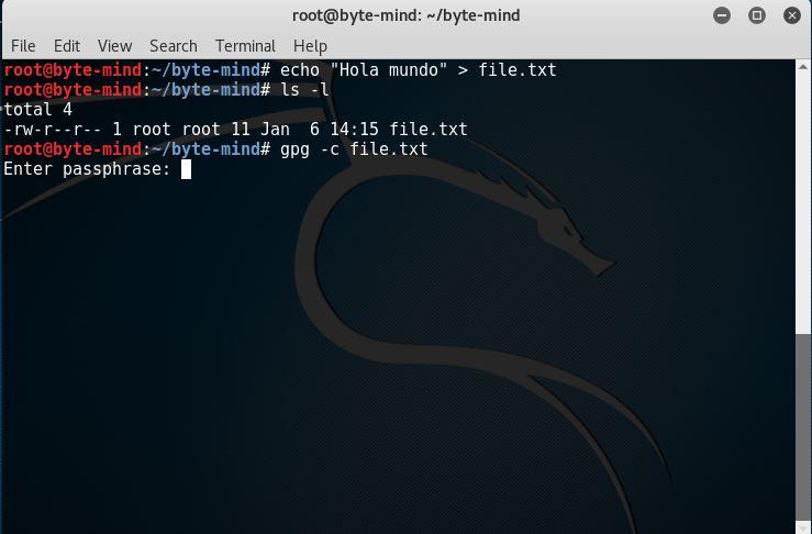 Encriptación simetrica con gpg en Kali Linux