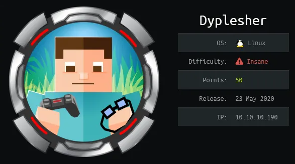 HackTheBox machines - Dyplesher WriteUp