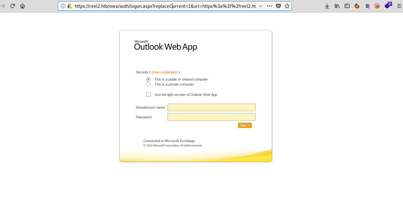 Outlook web app login