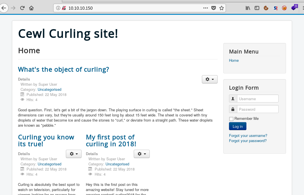 Acceso web a curling